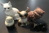 VINTAGE KITTEN Cat Ceramic FIGURINES Lot Of 5