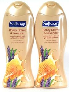 2 Bottles Softsoap 18 Oz Honey Creme & Lavender Extract Moisturizing Body Wash