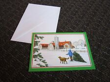 Susan Detwiler Christmas Card Unused Barn Dog Tree Winter Scene Mooseheart Il