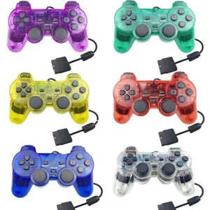 Wired Controller for PS2 - Transparent Blue, Red, Green, Purple and Black