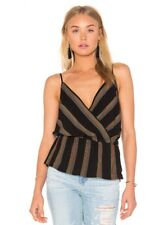 NWT Free People Psychedlic Summer Surplice Stripe Tank Top Cami Blouse Black