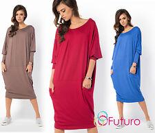 DRESS Ladies Casual Oversized Long Sleeve Dress Loose Boat Neck Plus Size FM45