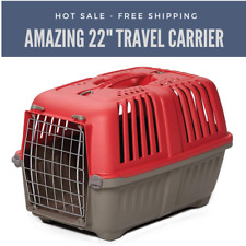 """Pet Carrier Hard-Sided Dog Carrier, Cat Carrier, Small Animal Carrier in Red 22"""""""