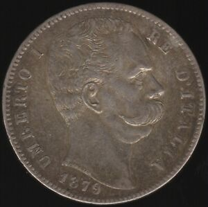 1879 R Italy Umberto I Silver 5 Lire Coin | European Coins | Pennies2Pounds