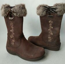 Clarks Girls Gortex Boots Brown Nubuck Leather Floral/Fur/ Bow Detail UK 7.5G