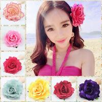 Artificial Rose Flower Hairpin Wedding Bridal Brooch Women Hair Clips Headwear