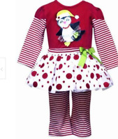 NEW Rare Editions Christmas Penguin Size 2 2t 3 3t dress outfit shirt top pants