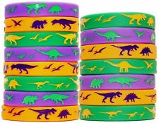 Dinosaur World Jurassic Style Silicone Wristbands - Set of 15 Bands