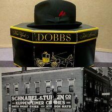 Vtg Dobbs Fifth Ave Mens Hat w/ Box  Black Felt  SZ 7 Schnabels Wisconsin Rapids