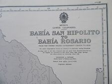 "1965 MEXICO BAHIA SAN HIPOLITO to ROSARIO Navigation Sea MAP CHART 28"" x 41"" C36"