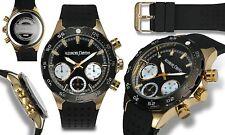 NEW Alexander Dubois 10074 Mens Alsace Series Black/Gold Chronograph Sport Watch