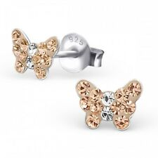925 Sterling Silver Peach Crystal Butterfly Stud Earrings Kids Girls- Gift Boxed