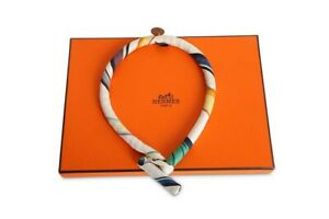 Hermes Silk Collier En Soie Bride Petit H Choker Necklace Collar
