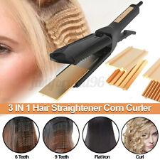 3 In 1 Hair Straightener Corn Curler Curling Iron Ceramic Hair Styler Wet & Dry