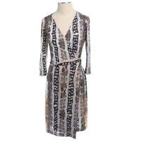 Diane Von Furstenberg Womens Long Sleeve V Neck Multicolor Wrap Dress Size 4