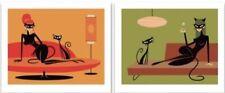 SHAG Josh Agle Black Kitten in Green Orange Unframed Serigraph Art Print PP #1/3