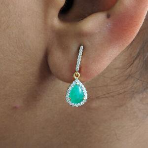 Diamond Pave 14K Gold Minimalist 1.36 ct Emerald Gemstone Earrings Fine Jewelry
