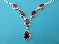 925 Sterling Silver Necklace With Purple Amethyst This Years Colour (nk1635)