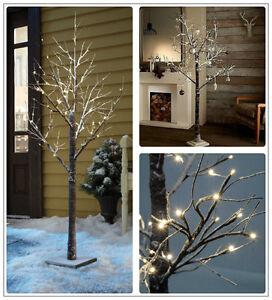 Rustic 120 LED Warm White 180cm Brown Birch Snowy Pre Lit Christmas Twig Tree UK
