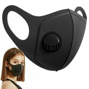 FACE MASK - FILTER VALVE Washable Reusable Black Breathable Mask-  UK STOCK