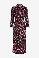 NEXT Black Pink Floral Print Ruffle Midi Tea Dress Size 20 BNWT RRP £32 Party