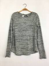 THREE DOTS L/S Round Neck Tie Back Striped Knit Tee Shirt Top Grey S $138 B4