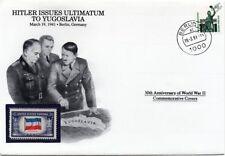1941 de la Segunda Guerra Mundial Hitler problemas ultimátum a Yugoslavia Sello Cubierta Alemania/Danbury Mint