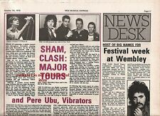 CLASH major tour news 1978 UK ARTICLE / clipping