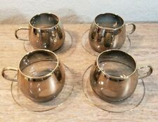 Vtg Heat Resistant Gold Fade Glass Coffee Tea Cups Saucers Set of 4