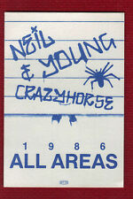Neil Young and Crazyhorse 1986 Tour Unused All Areas Backstage Pass Unpeeled