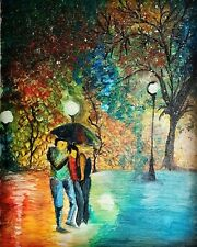 Hand made original acrylic on canvas 11x14 painting. Love Couples Walking