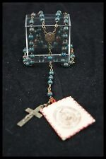 † FRANCE ST THERESE LISIEUX ROSARY BLOOD STONE BEADS + 1 RELIC SANTA TERESITA †