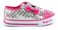 Skechers S Lights Sweets Steps Pink Silver Size 9 UK Tab Fastening Light Up