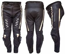 MENS RACING ALL BLACK MOTORCYCLE MOTORBIKE COWHIDE LEATHER CE PROTECTION TROUSER
