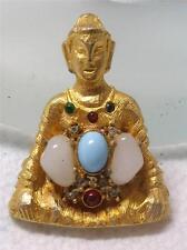 RARE~ DeNicola Figural  Buddha Decorated with Glass & Rhinestones Pin Brooch