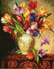 Parrot Tulips Counted Cross Stitch 18 Count Aida   For Experienced Neeldecrafter