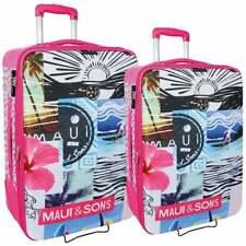 Set 2 Valigie Trolley Bagaglio a Mano da Viaggio Maui and Sons 2 ruote Rosa New