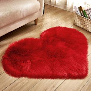 Heart Shape Carpet Floor Mat Rug Soft Plush Fur Fluffy Living Room Bedroom Decor