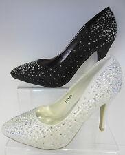 Ladies Sparkle Effect Black/White Court Shoes L2280 (Wedding/Bridal Shoes)