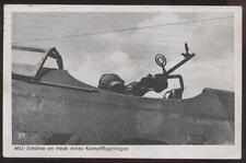 Postcard GERMANY  German Fighter Pilot w/Machine Gun 1940's