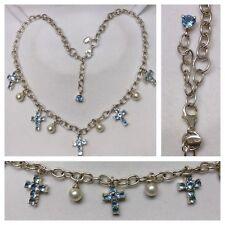 Bella Collar/Collar 925 Plata Cadena de plata azul cruz y perla ks-ka L: 50cm