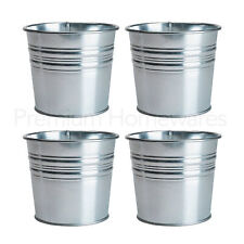 4 x IKEA SOCKER Galvanised Steel Plant Pots (For 10.5cm Diameter Flowerpots)