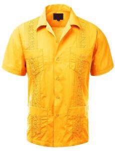 Guayabera Men's Cuban Beach Wedding Short Sleeve Button-Up Casual Dress Shirt