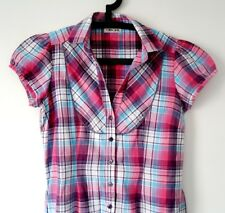 CHEROKEE Womens PINK CHECK SHIRT Dress - UK 12 - MED - MINT CONDITION