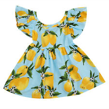 Toddler Baby Girl Flying Sleeve One Piece Skirt Lemon Floral Weeding Party Dress