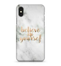 Believe In Yourself Rose Golden Quote White Stone Marble Effect Phone Case Cover
