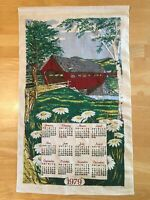 "Vintage Linen Calendar 1979 Covered Bridge Daisies Kitchen Textiles 26"" x 16"""