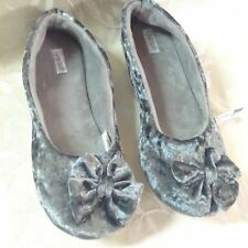 Jaclyn Smith Womens House Shoes Size L 9/10 Gray Velvet Lounge Warm Cozy NWT