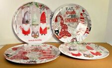 """New Set of 4 Melamine 11"""" Plates Christmas Gnomes In the Forest"""