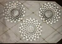 WHITEHALL COLONY INDIANA CLEAR CUBIST DESIGN LOT OF 3 SALAD DESSRT PLATES 7-1/4""